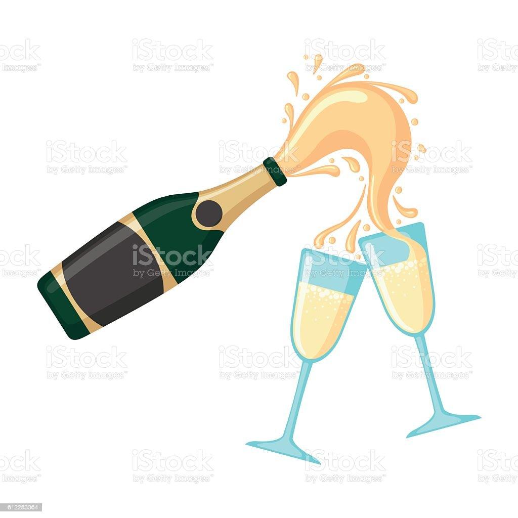 Bottle of champagne with glasses. vector art illustration