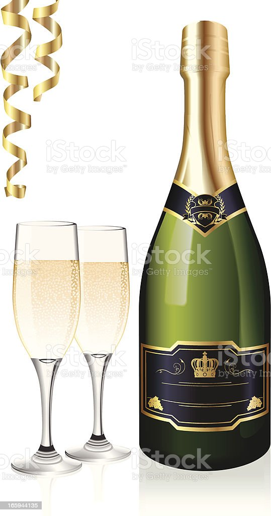 Bottle of champagne with two glasses and gold streamers vector art illustration