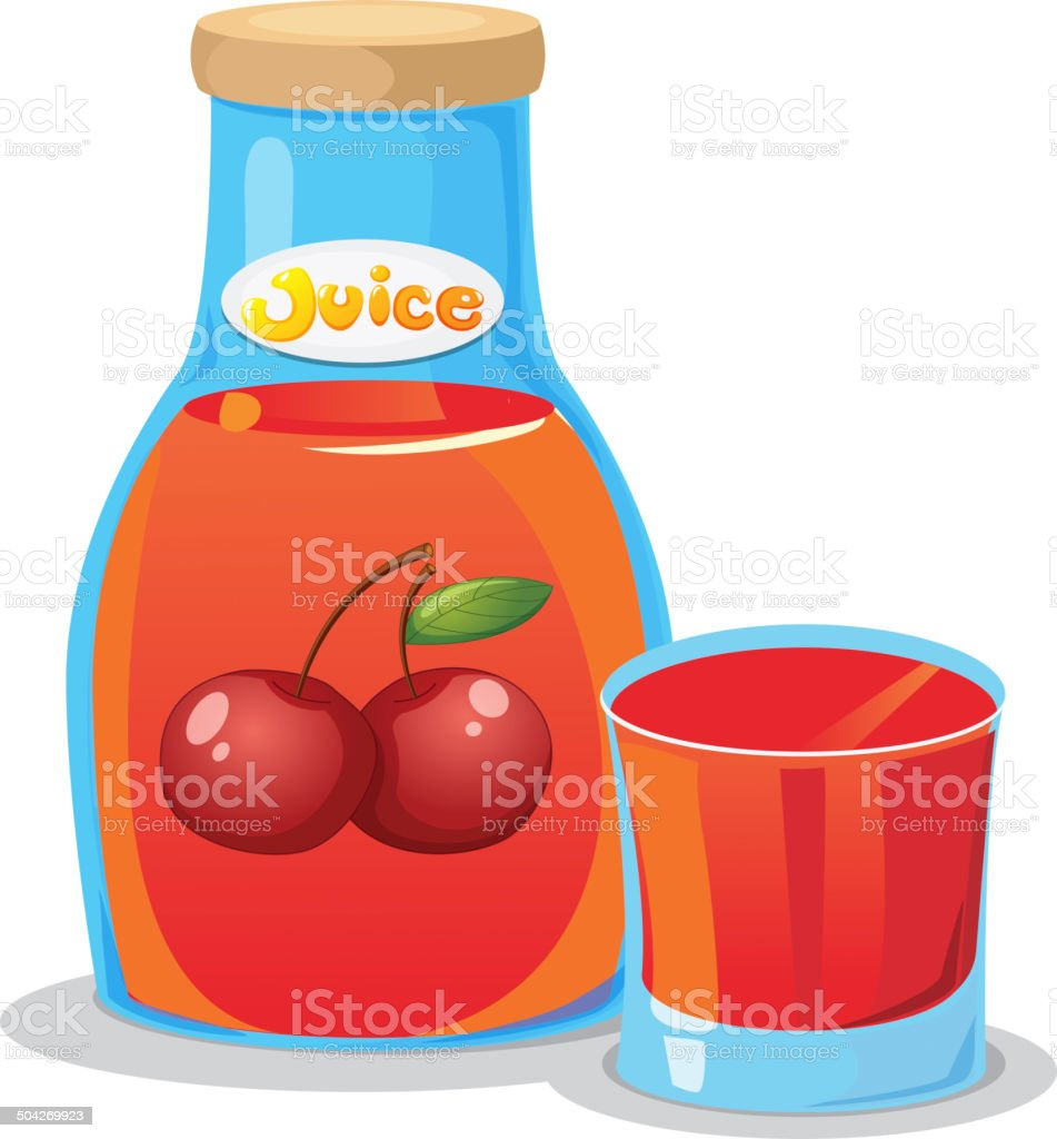 Bottle of cherry juice vector art illustration