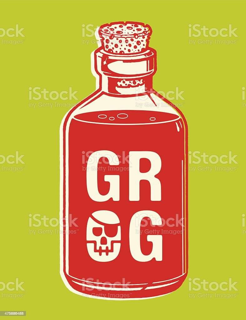 Bottle of Grog vector art illustration