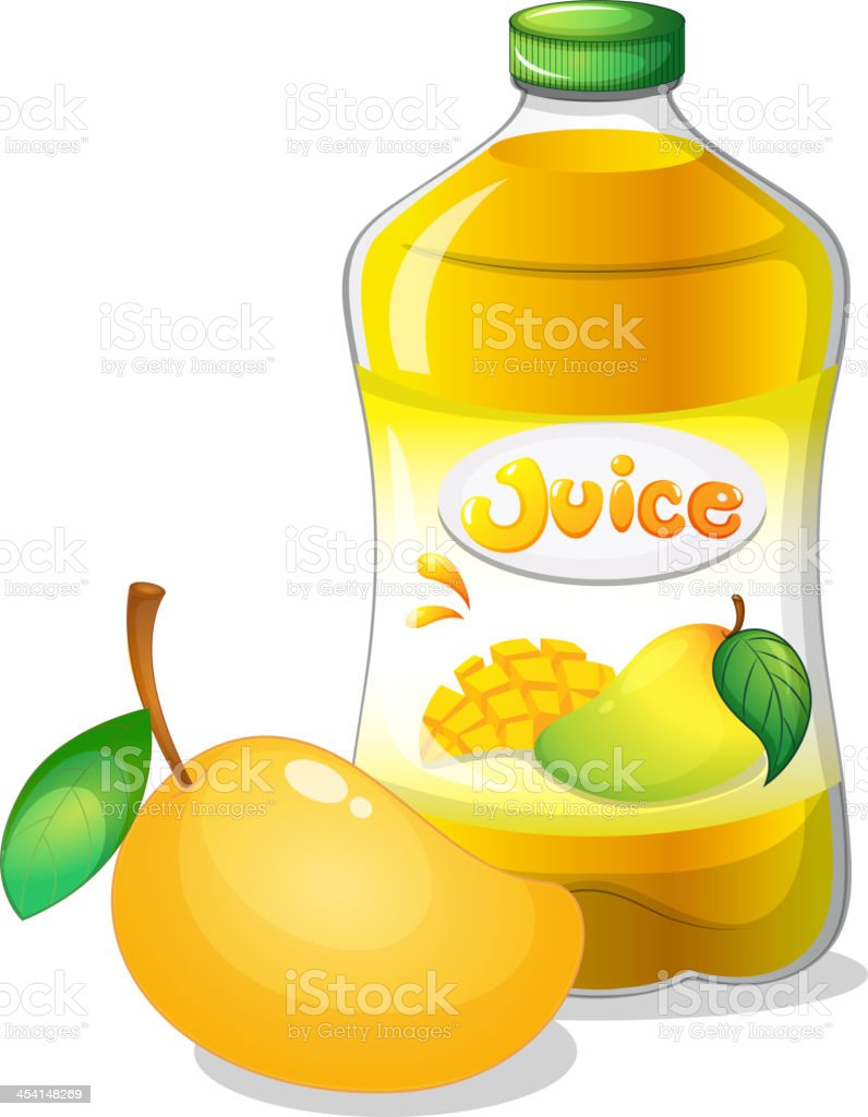 Bottle of mango juice royalty-free stock vector art