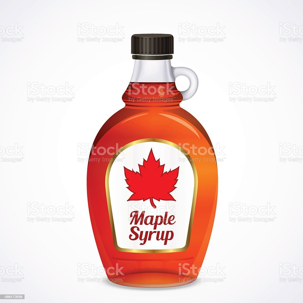 Bottle of maple syrup vector art illustration