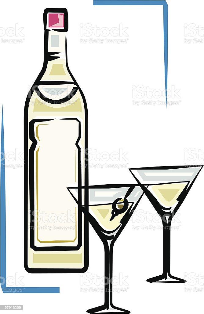 Bottle of martini vector illustration royalty-free stock vector art