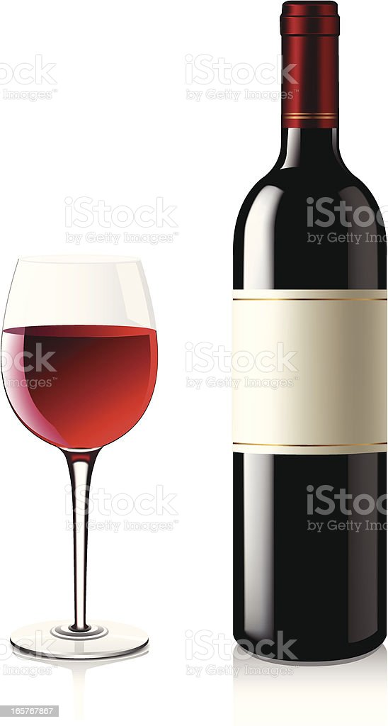 Bottle of red wine next to a full glass of red wine royalty-free stock vector art