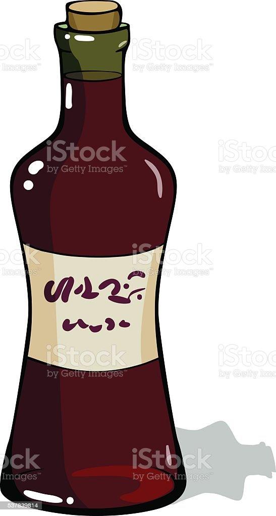 bottle of red wine. Red wine vinegar. vector art illustration