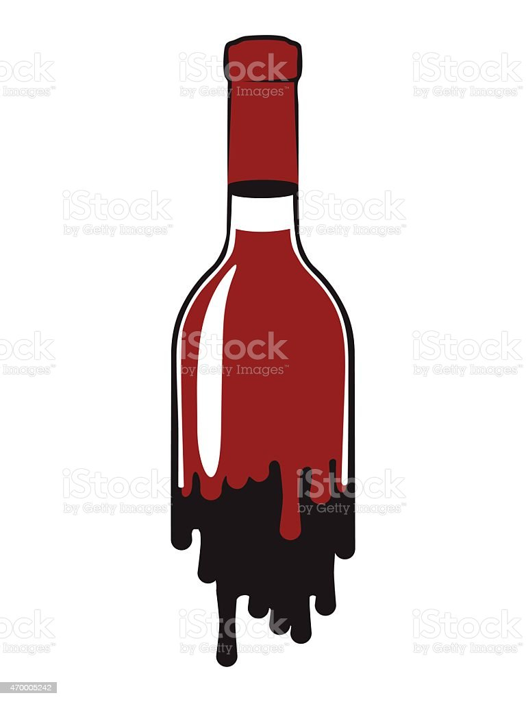 Bottle of red wine vector art illustration