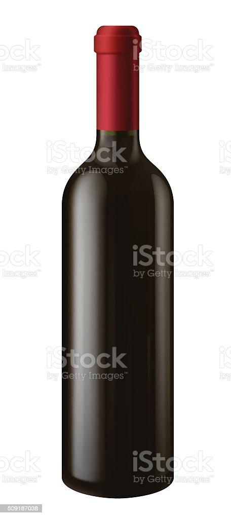 Bottle of red wine vector art illustration