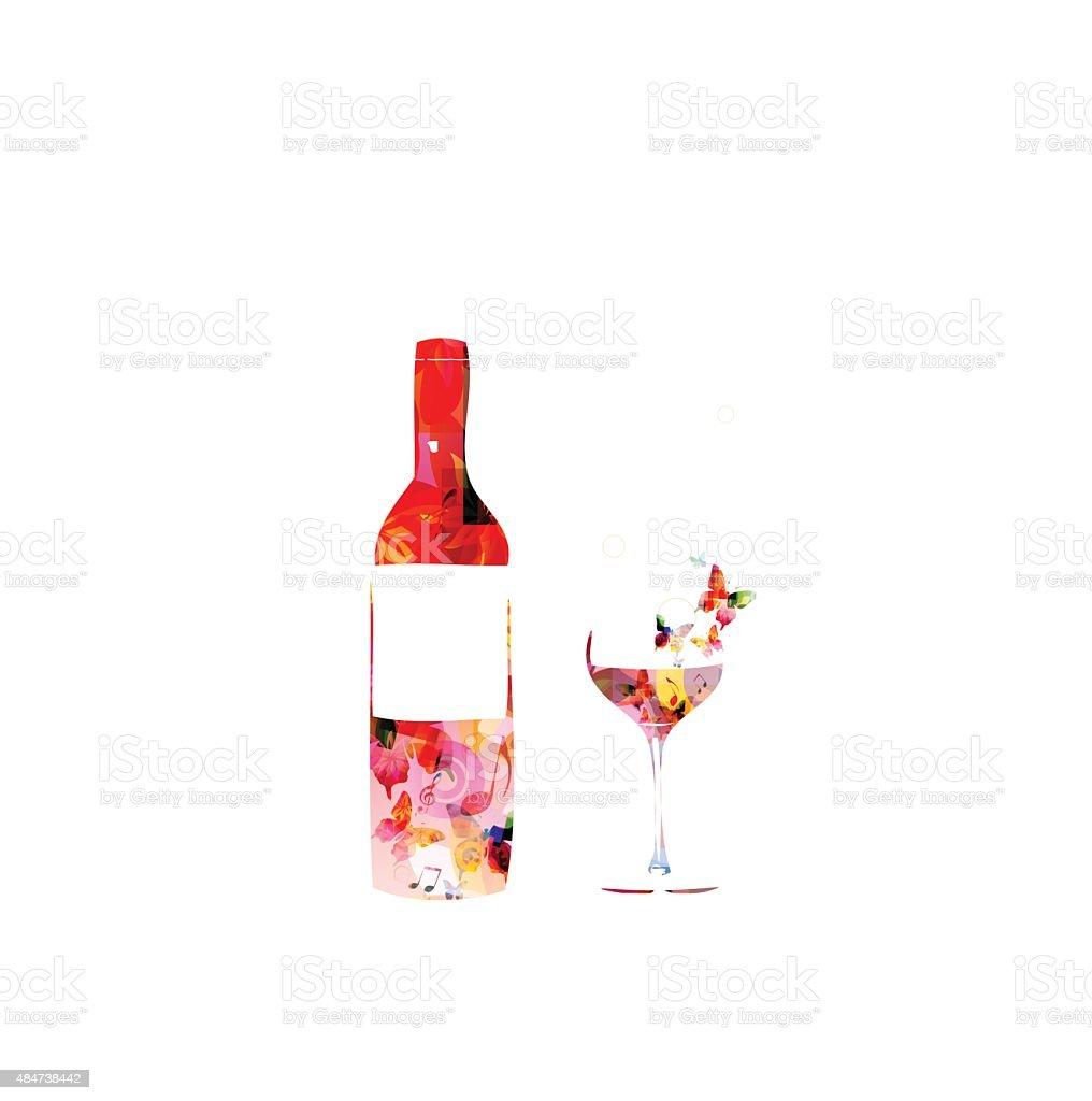 Bottle of vine and a glass on white background vector art illustration