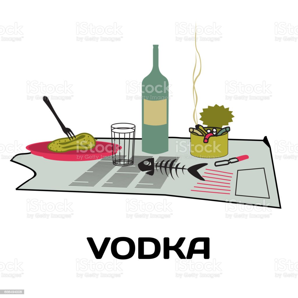 Bottle of vodka, snack, ashtray on an old newspaper vector art illustration