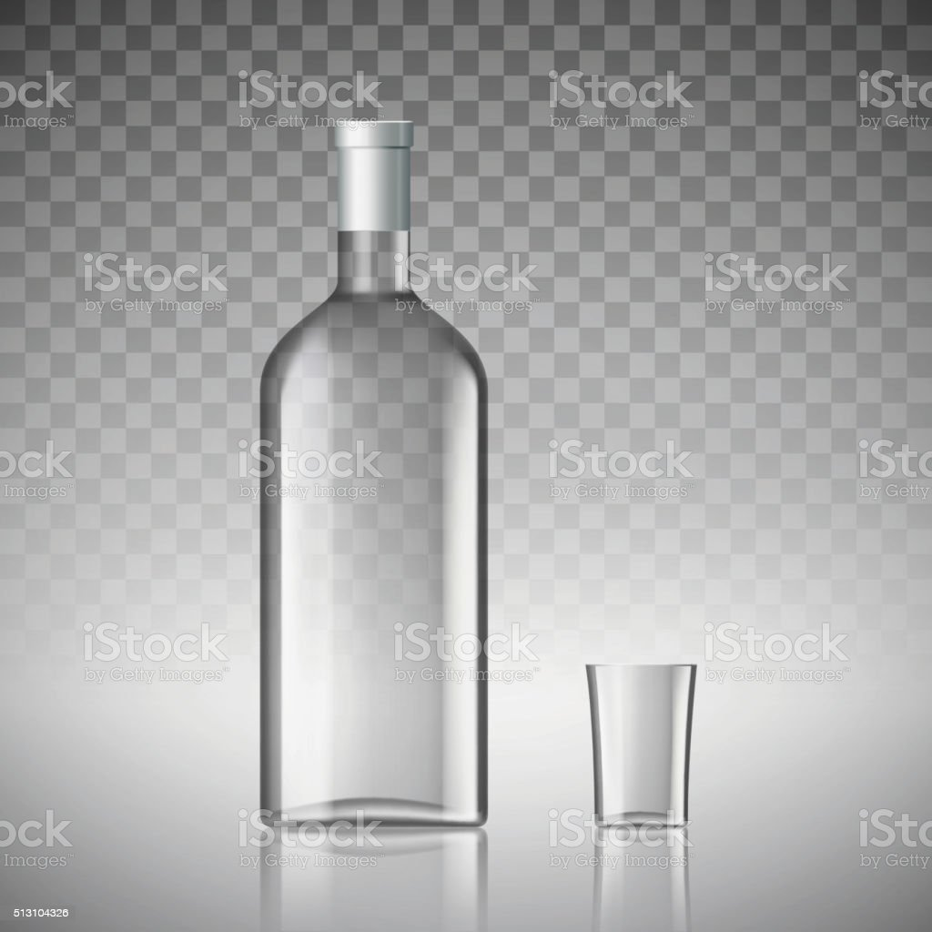 bottle of vodka vector art illustration