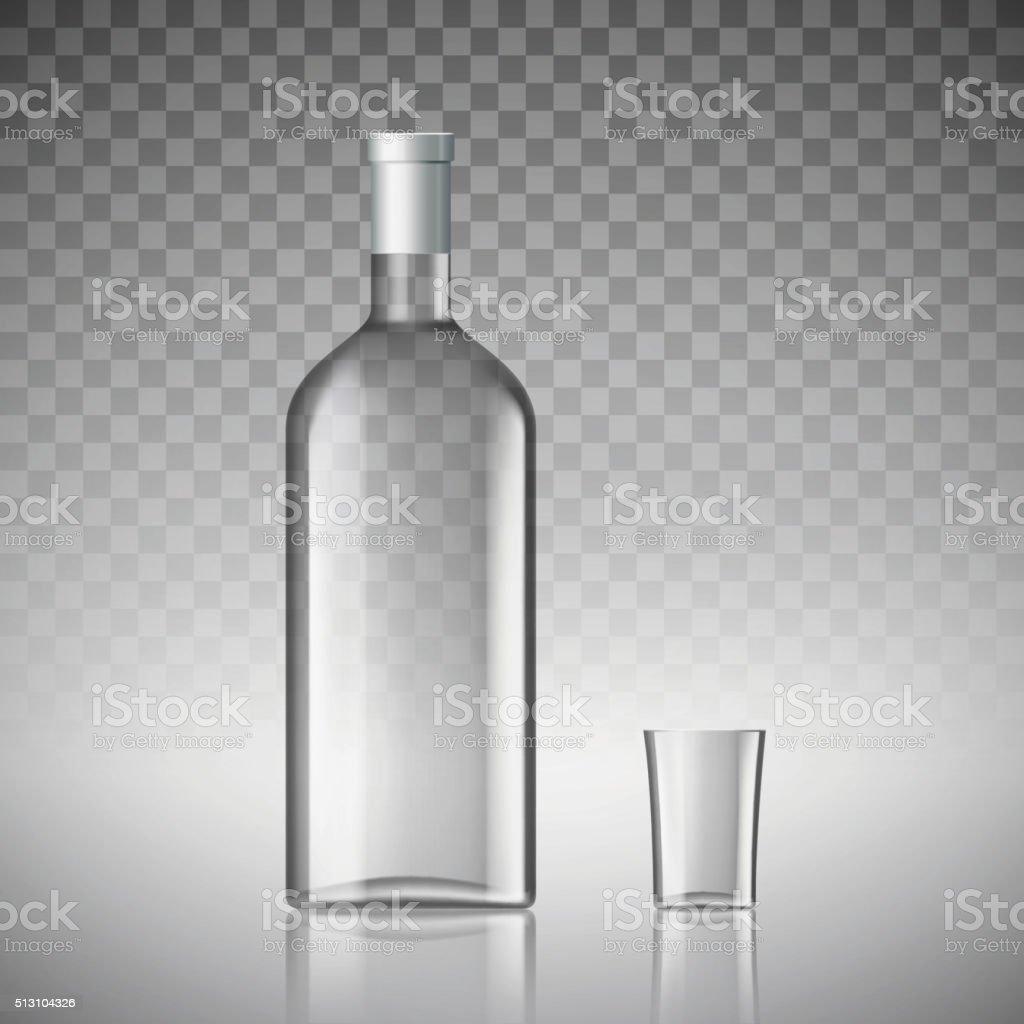 bottle of vodka vector art illustration