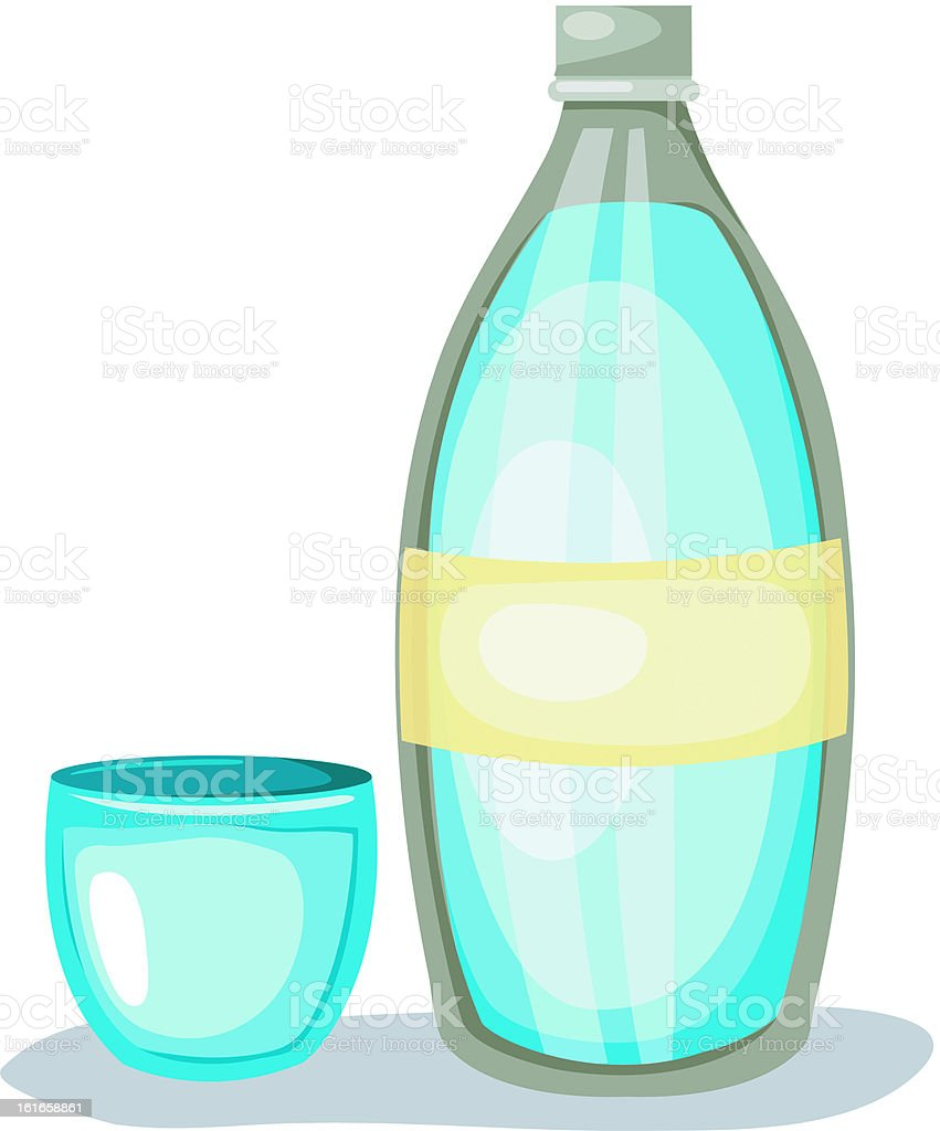 Bottle of water and glass. Vector royalty-free stock vector art