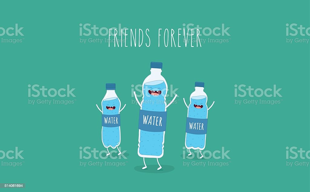 bottle of water vector art illustration