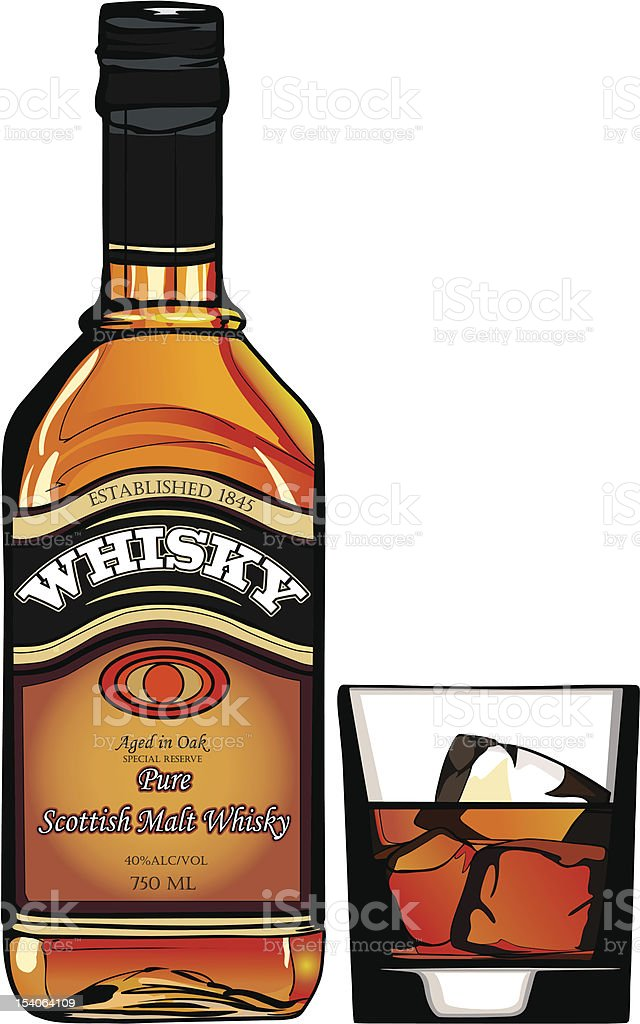 bottle of Whisky vector art illustration