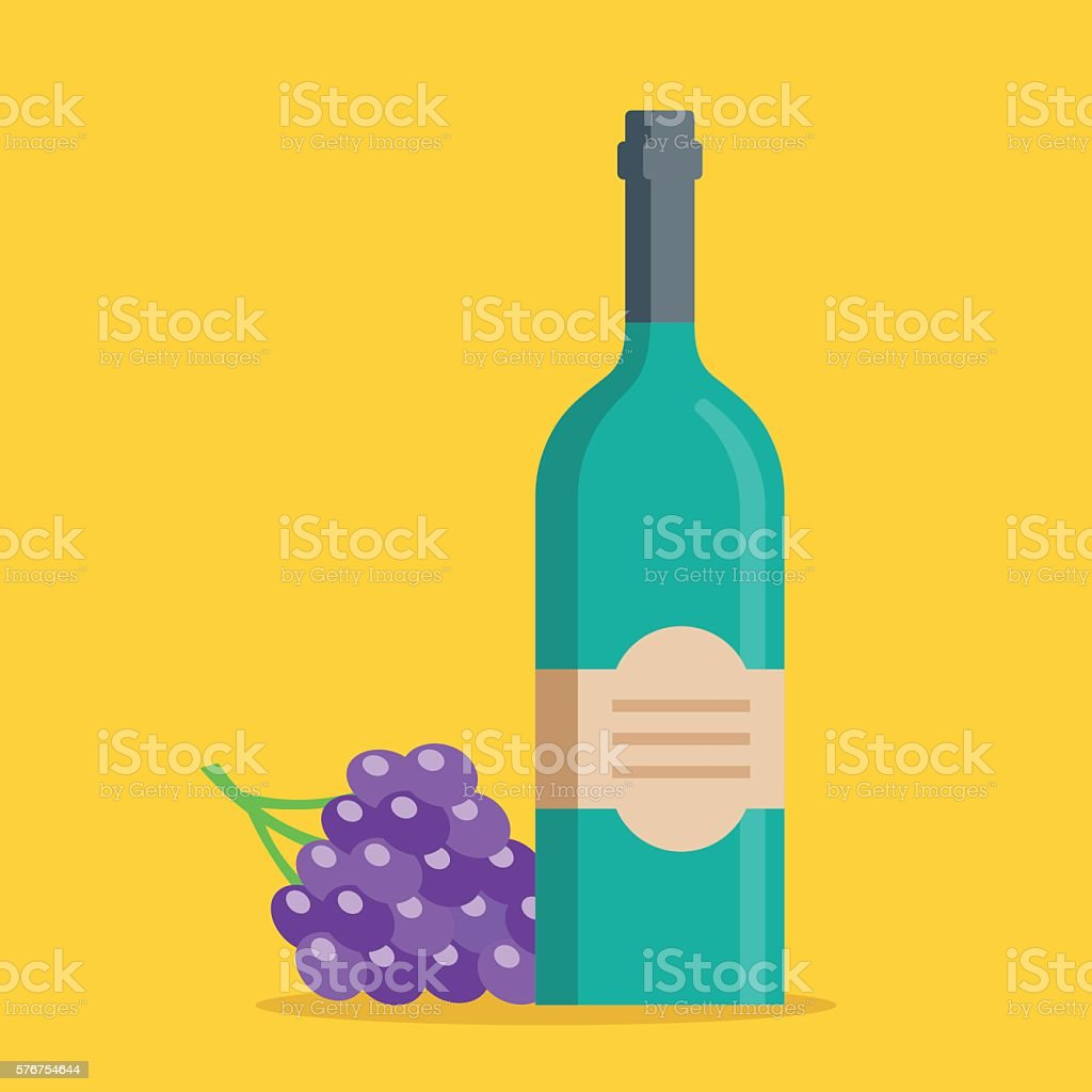 Bottle of wine, bunch of grapes set. Flat vector illustration vector art illustration