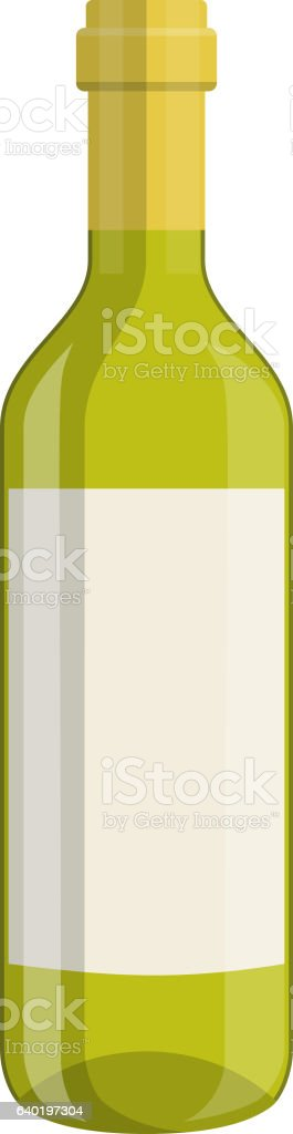 bottle of wine isolated on white background vector art illustration