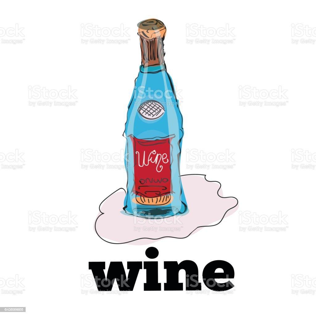 bottle of wine isolated on white background vector art illustration