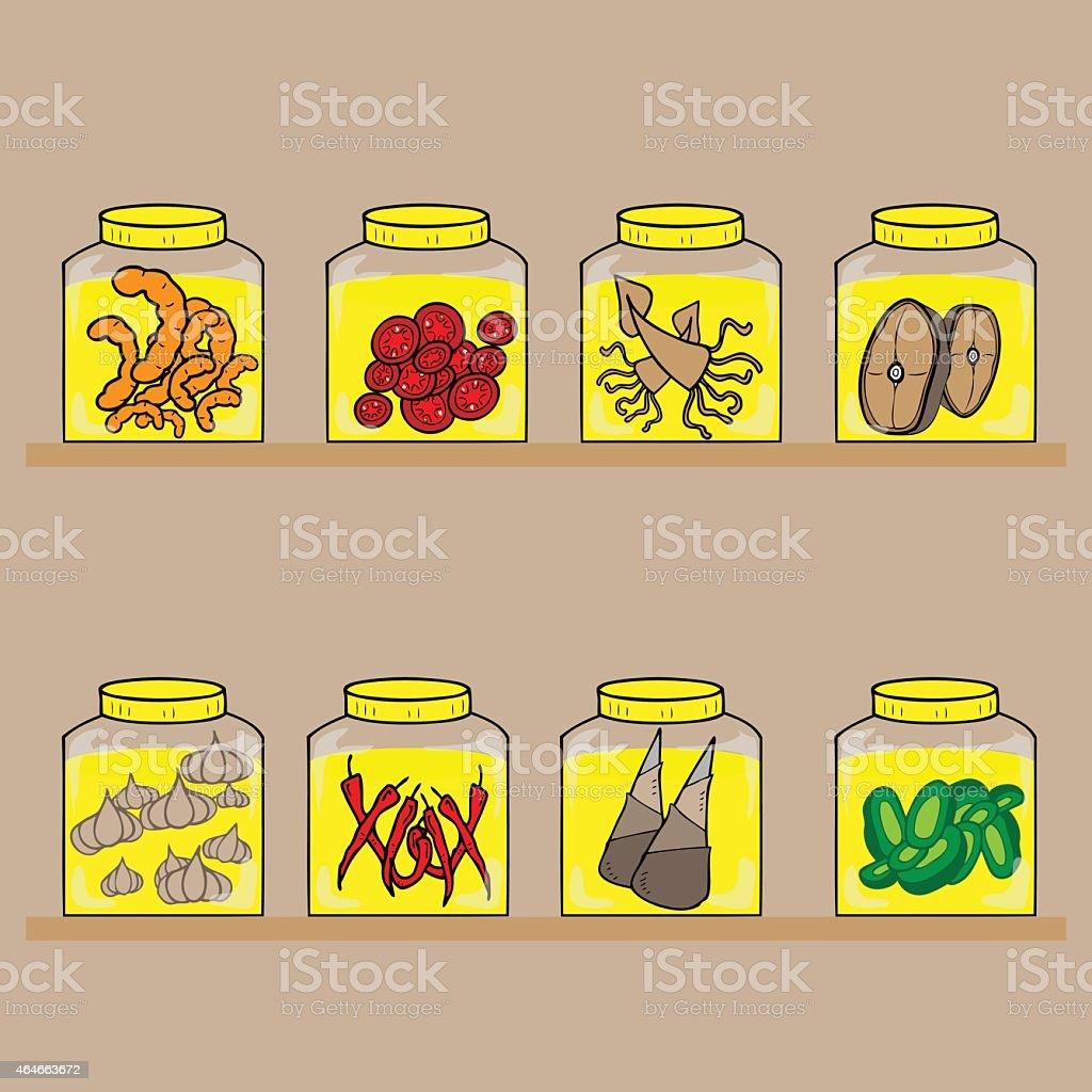 Bottle preserved food vector art illustration
