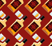 Bottle Scotch seamless pattern. Glass of whiskey and ice ornamen