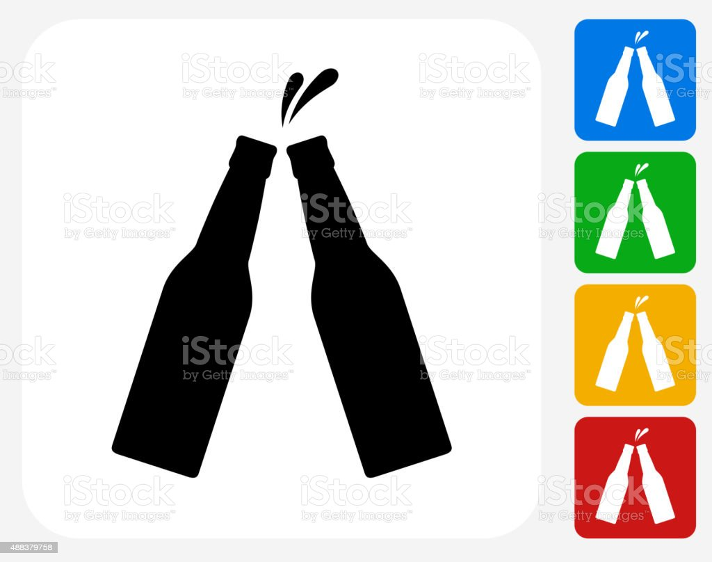 Bottle Toast Icon Flat Graphic Design vector art illustration