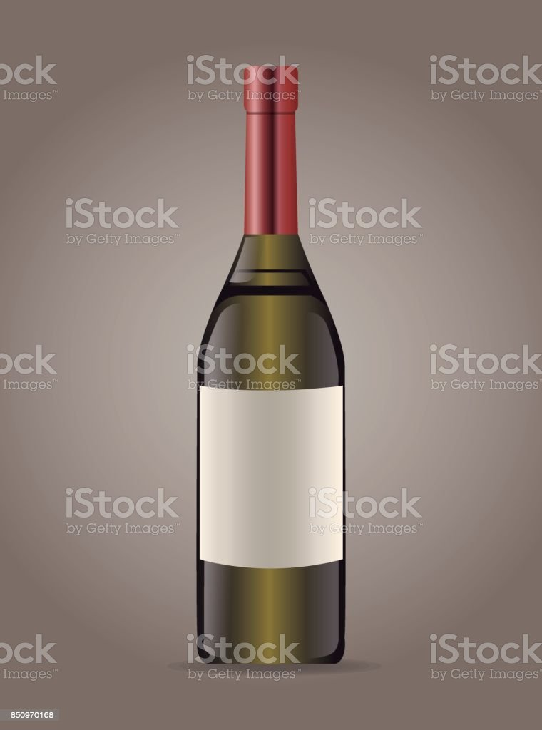 bottle wine drink image vector art illustration