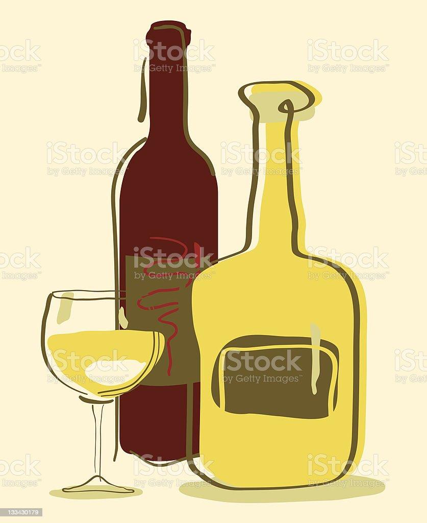 Bottle wine glass royalty-free stock photo