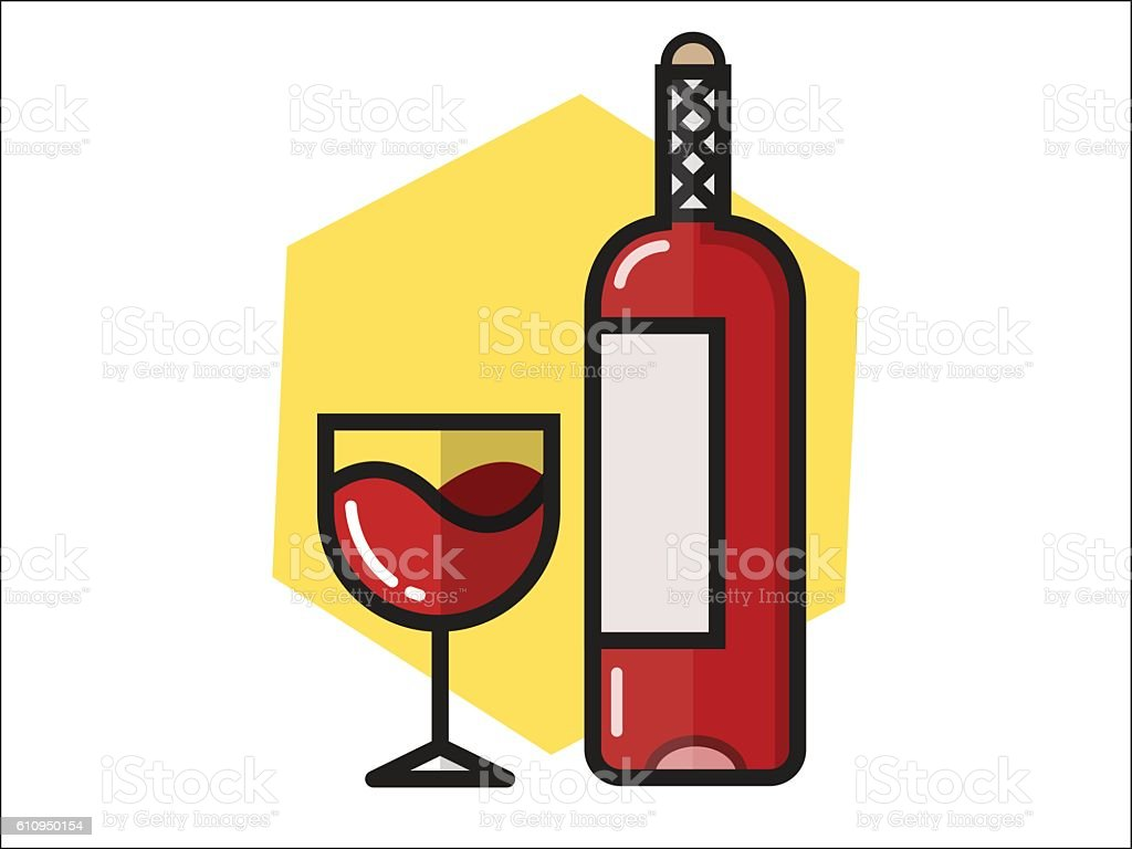 Bottle Wine vector art illustration