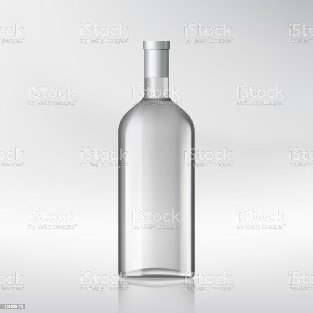 bottle with alcohol. vector art illustration