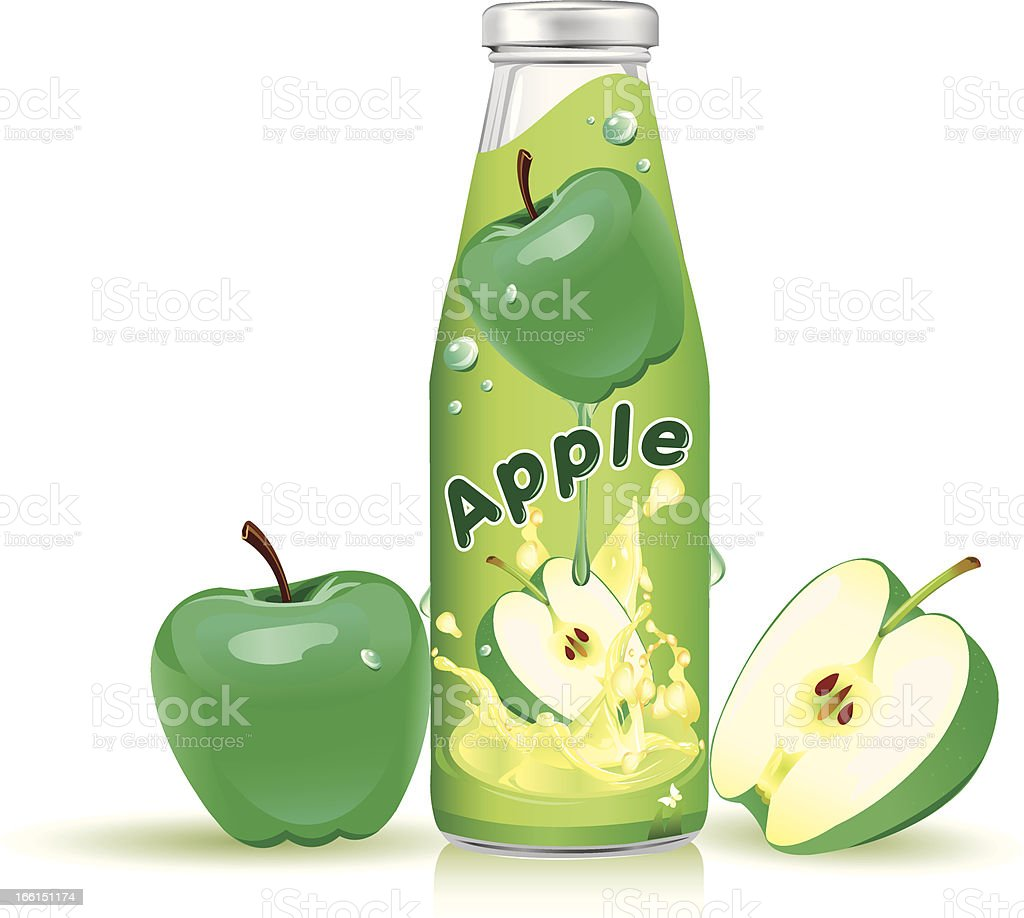 Bottle with juice apple royalty-free stock vector art