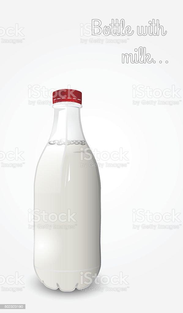 Garrafa com leite. vetor e ilustração royalty-free royalty-free