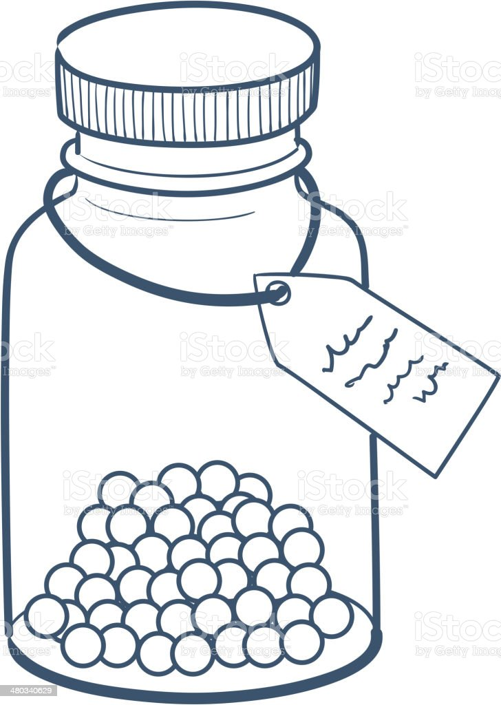 Bottle with pills isolated on white. vector art illustration