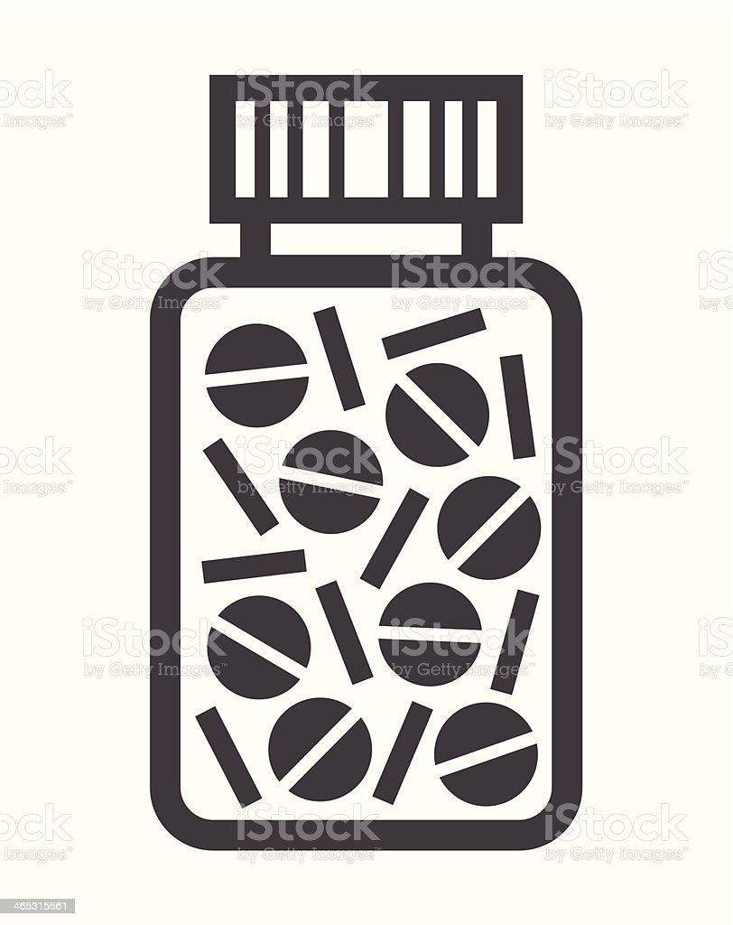 Bottle with pills vector art illustration