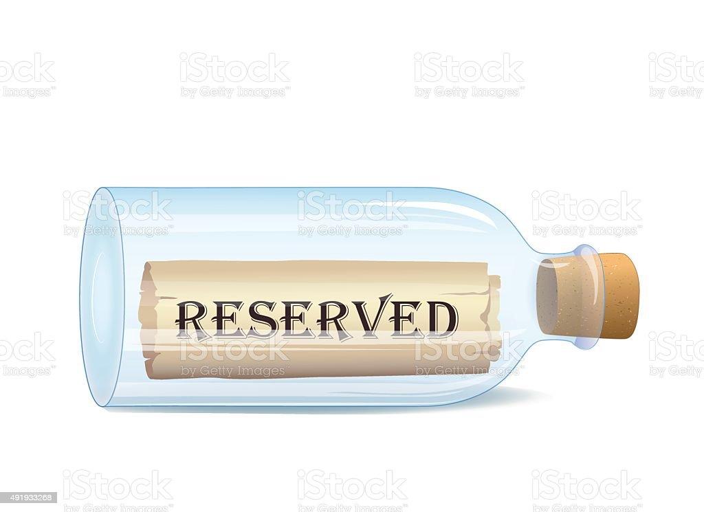 Bottle with Reserved message vector art illustration
