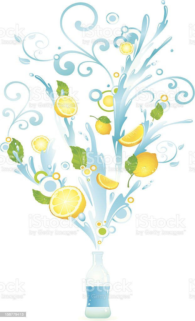 Bottle with water splash and lemon royalty-free stock vector art