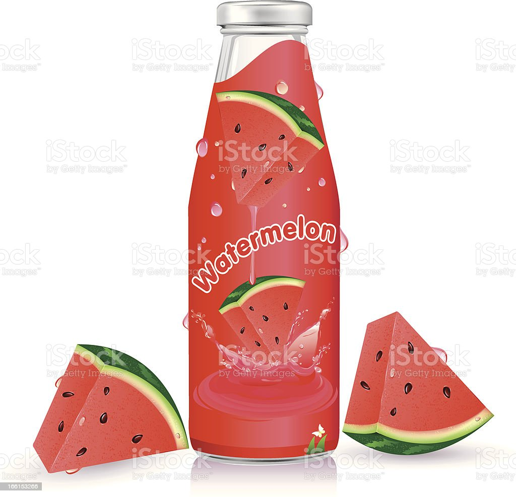 Bottle with Watermelon juice royalty-free stock vector art