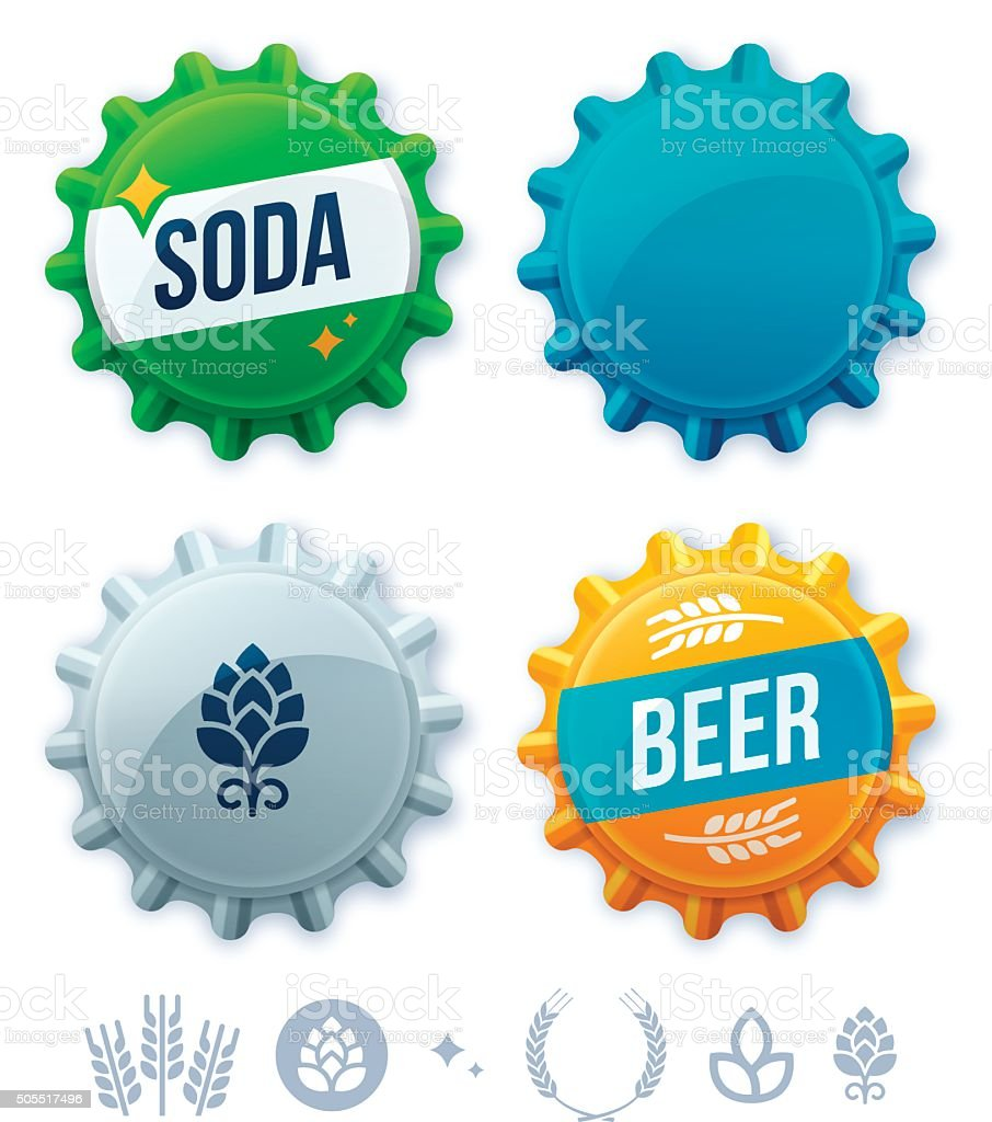 Bottlecaps vector art illustration