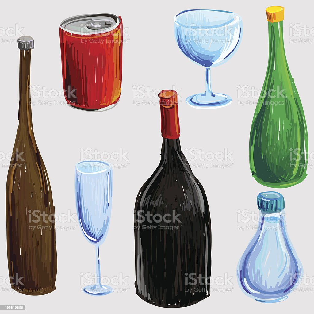 Bottles and drinkware collection in colour sketch style vector art illustration