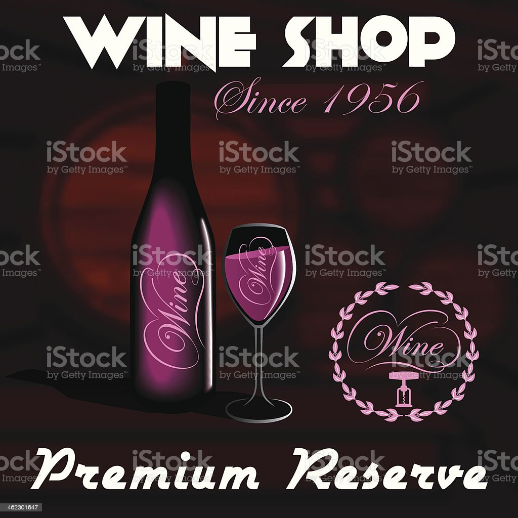 bottles and glasses for wine shop royalty-free stock vector art
