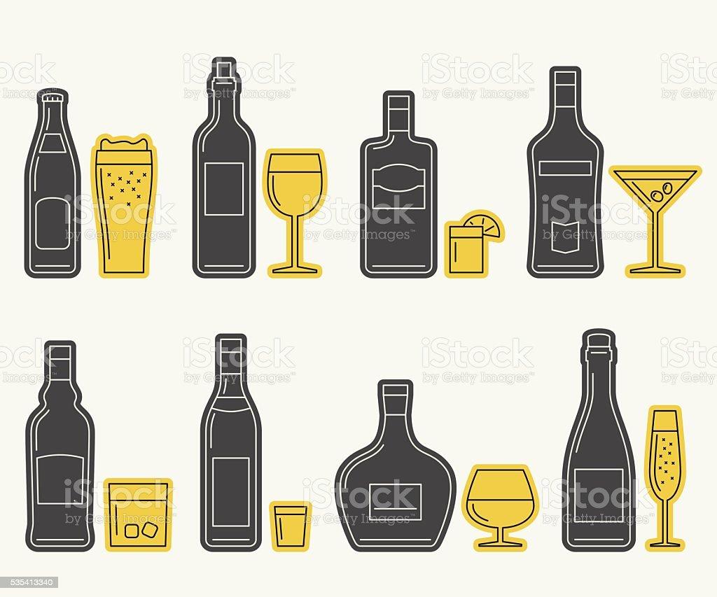 Bottles and glasses line icons vector art illustration