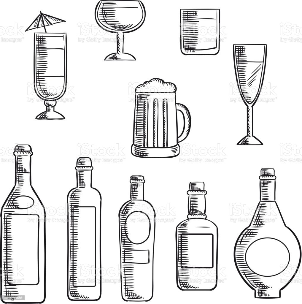 Bottles and glasses of alcohol beverages sketch vector art illustration