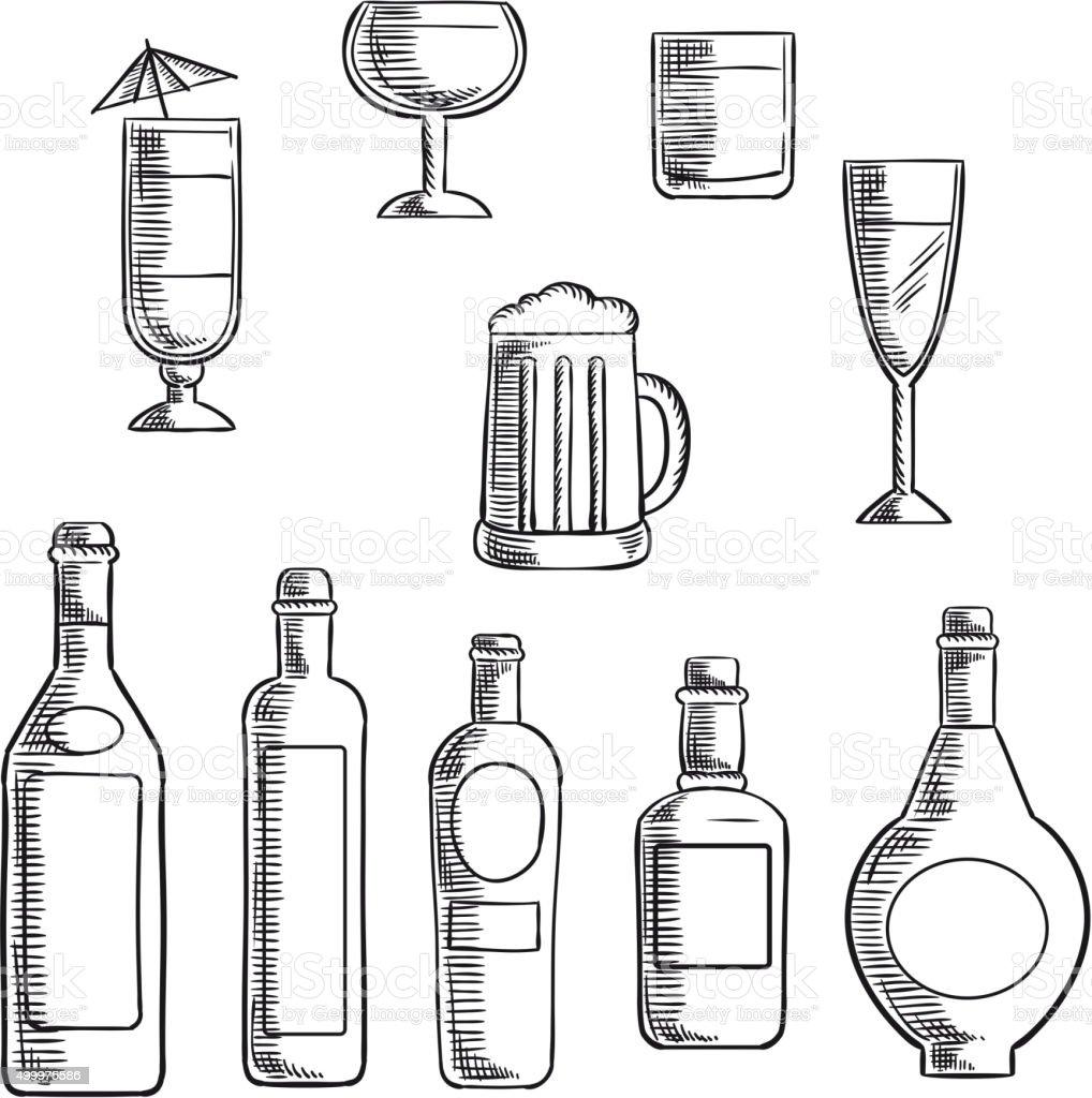 Bottles and glasses of alcohol beverages sketch vector art illustration