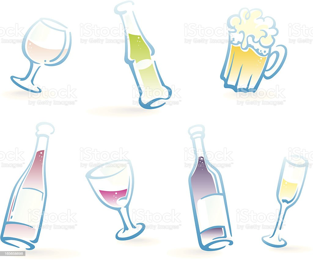 Bottles and Glasses of Alcoholic Drinks royalty-free stock vector art