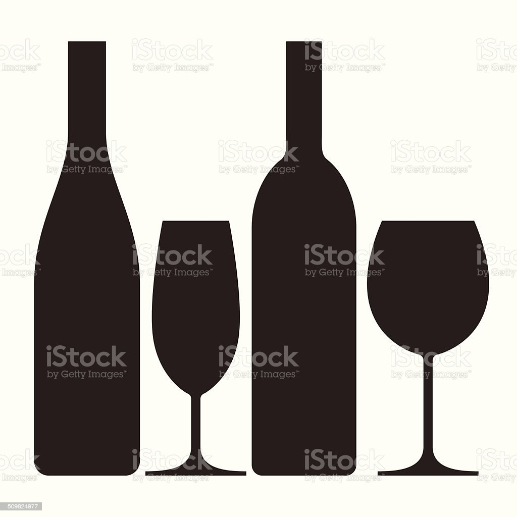Bottles and glasses of wine and champagne vector art illustration
