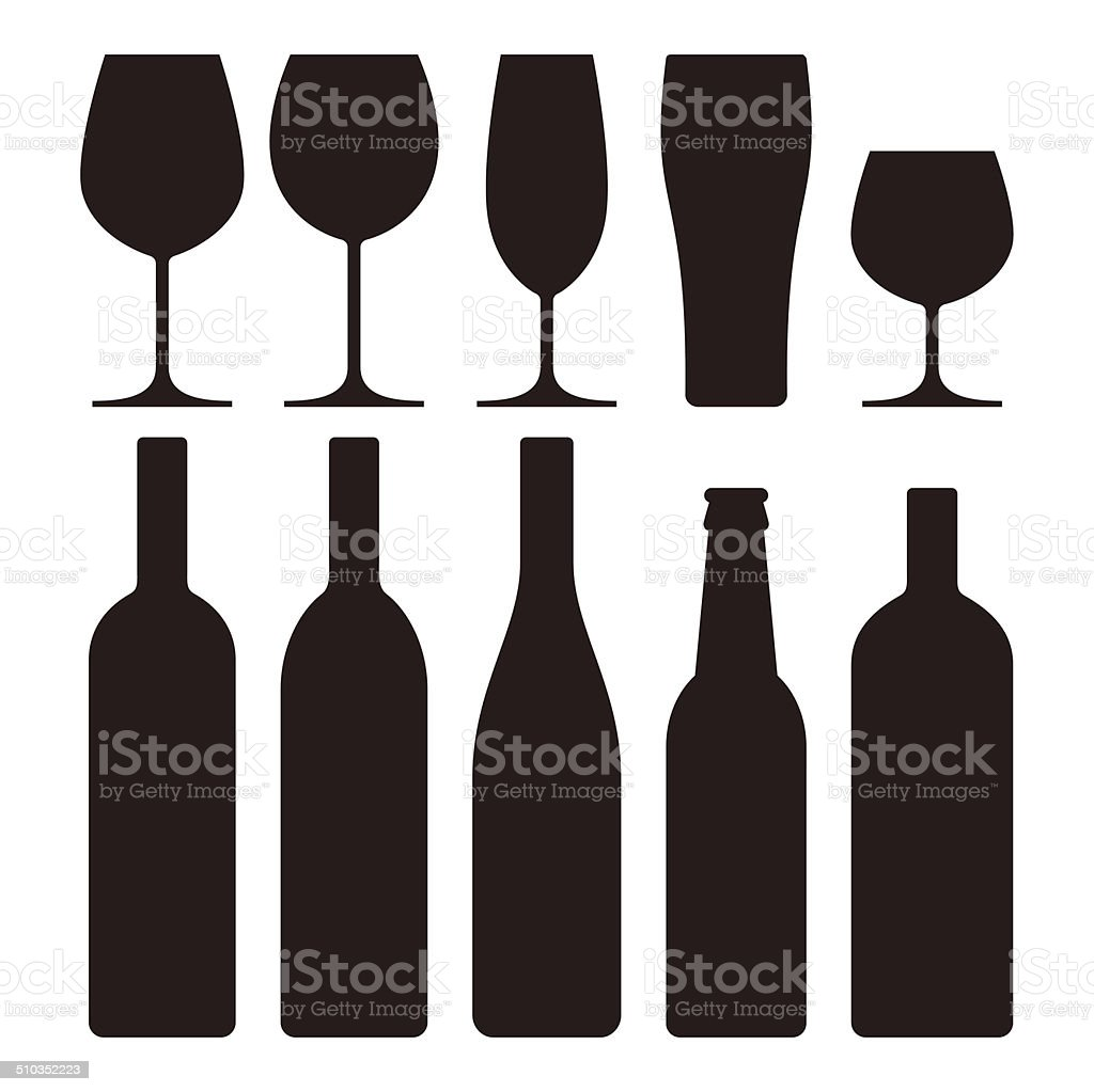 Bottles and glasses set vector art illustration
