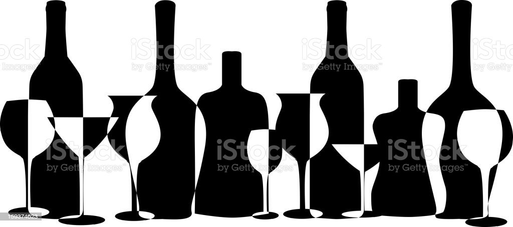 bottles and glasses royalty-free stock photo