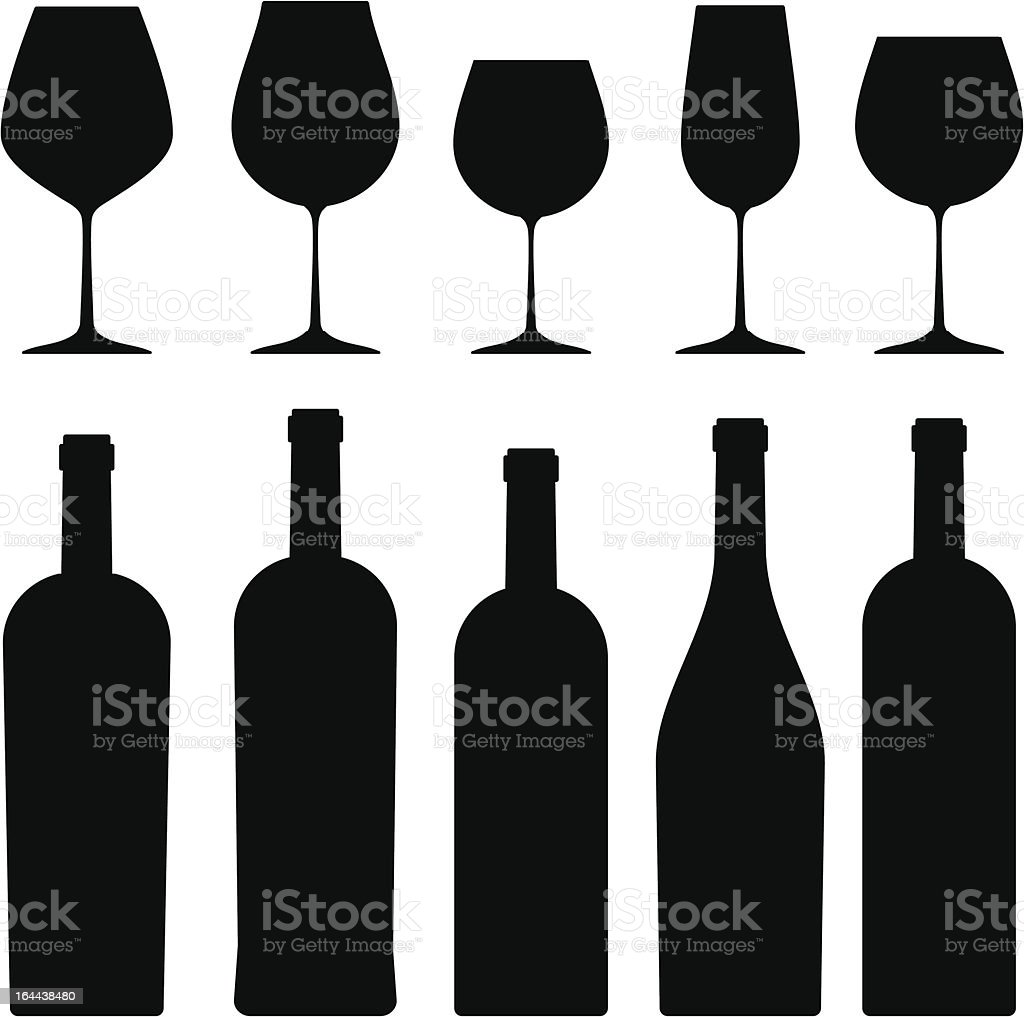 Bottles and wineglasses. royalty-free stock vector art