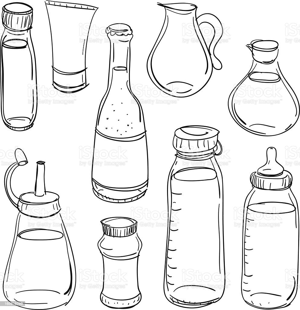 Bottles collection in black and white royalty-free stock vector art
