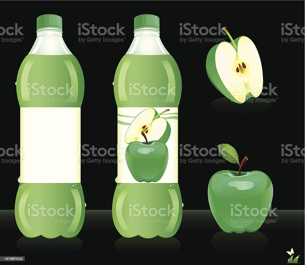 Bottles for apple juice. Vector illustration royalty-free stock vector art