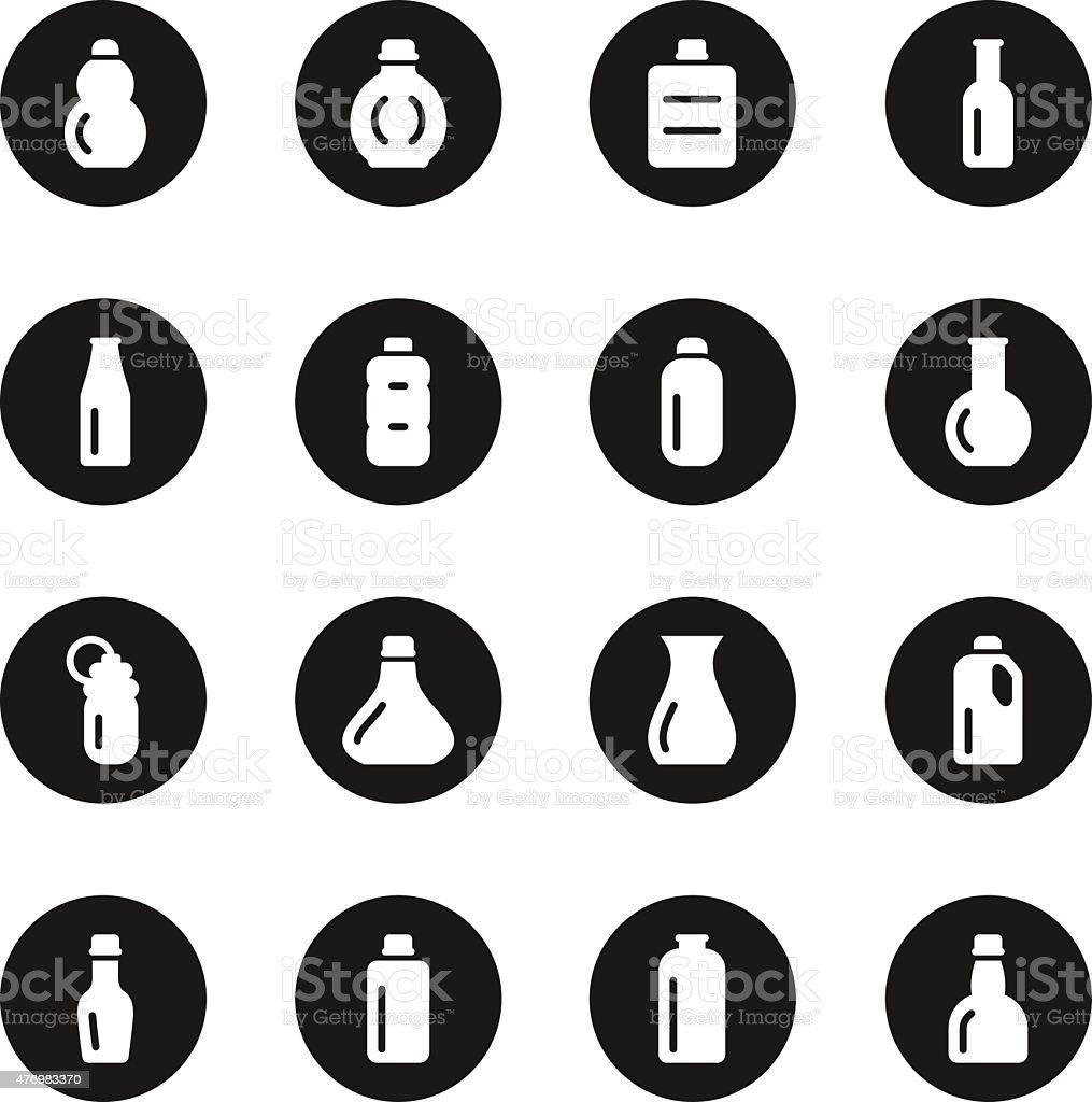 Bottles Icons Set 1 - Black Circle Series vector art illustration