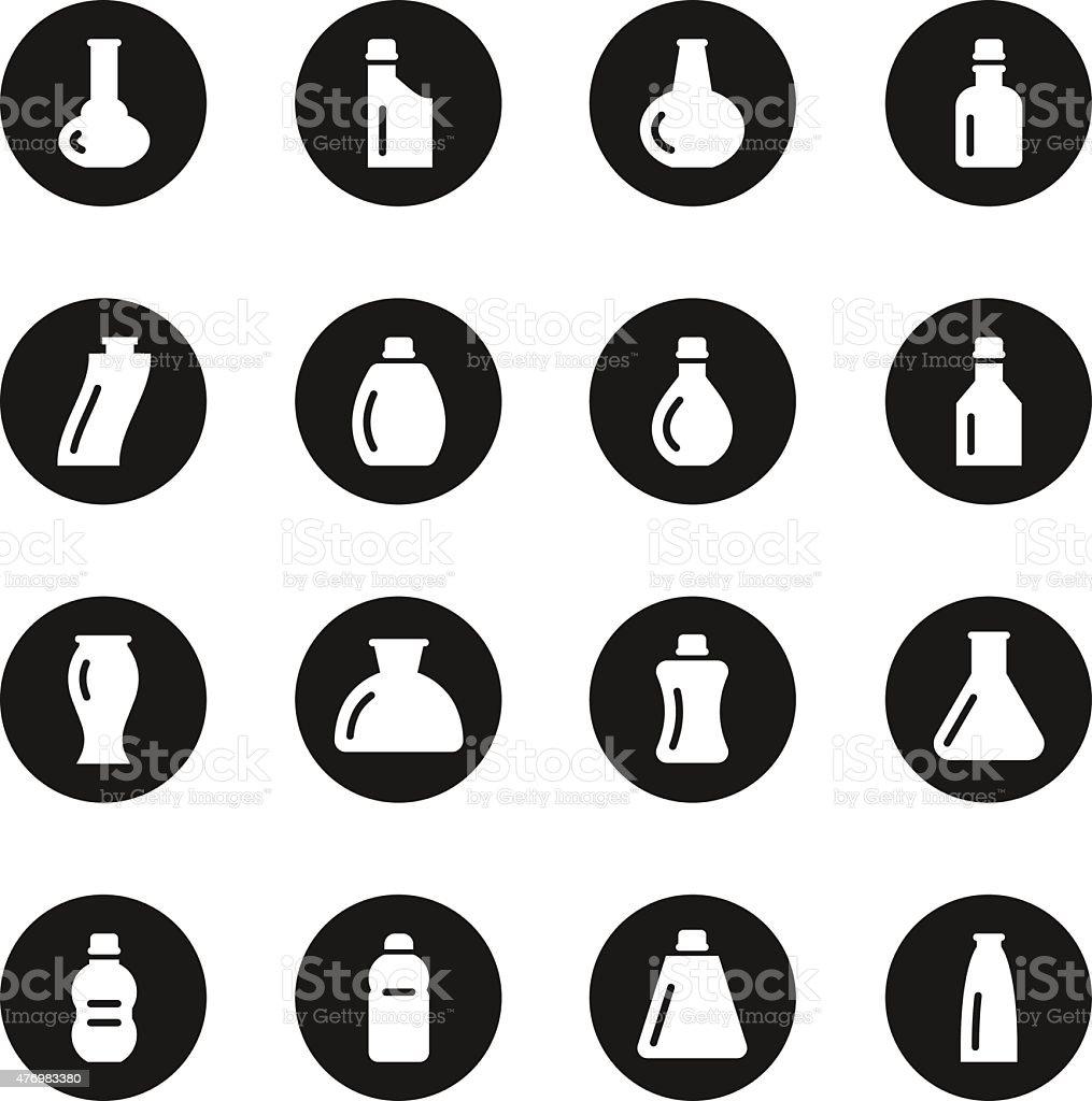 Bottles Icons Set 2 - Black Circle Series vector art illustration